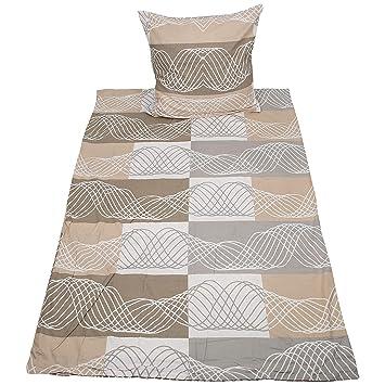 Biber Bettwäsche Beige Grau Mit Streifen 2 Teilig Bettwäsche