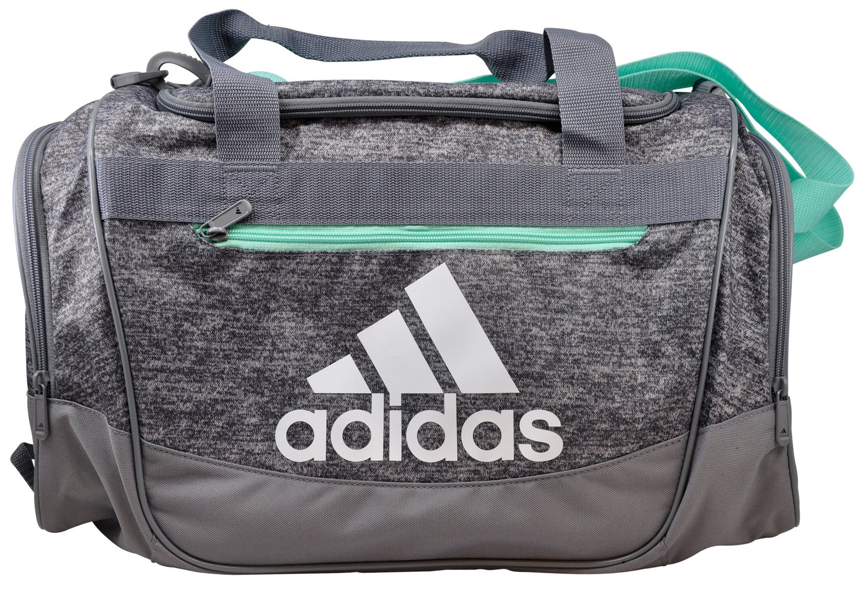 adidas Defender III Duffel Bag (Small, Onix Jersey/Grey/Easy Green/White)