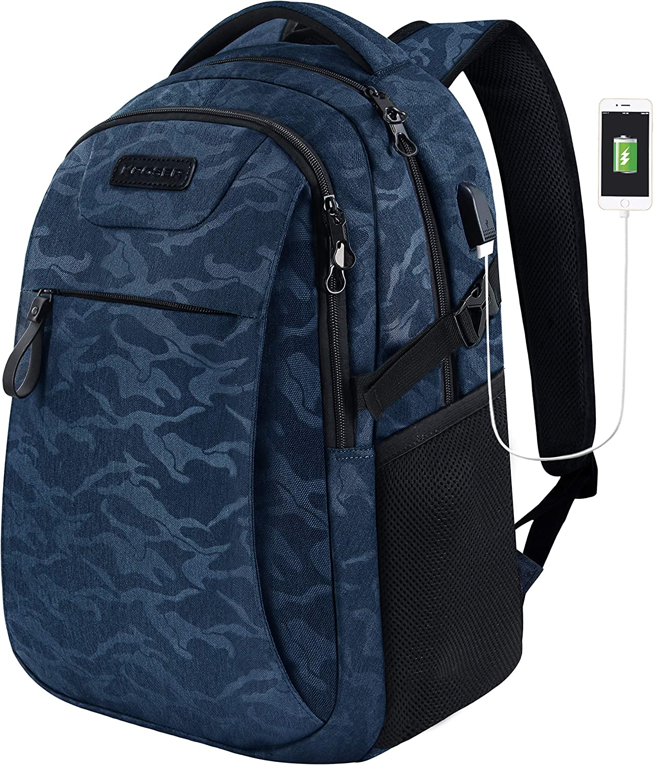 KROSER Laptop Backpack for 15.6 Inch Travel Business Computer Backpack with USB Charging Port Water-Repellent College School Casual Daypack for Men/Women-Camouflage Blue