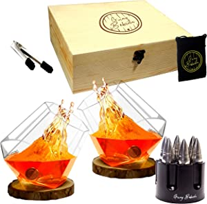 Guay Bebida Stainless Steel Chilling Ice Bullets in Gift Set – Includes Wooden Box, Pouch, Tong, 2 Whiskey Glasses, 2 Coaster, and 6 Whiskey Bullets for Bourbon, Scotch, Soda, Beer and other Drinks