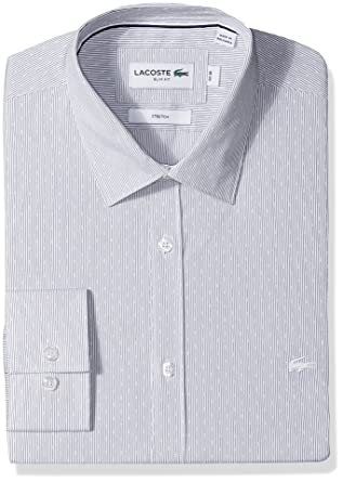 902cf766f Lacoste Men s Long Sleeve Spread Collar Striped Jacquard Stretch Poplin