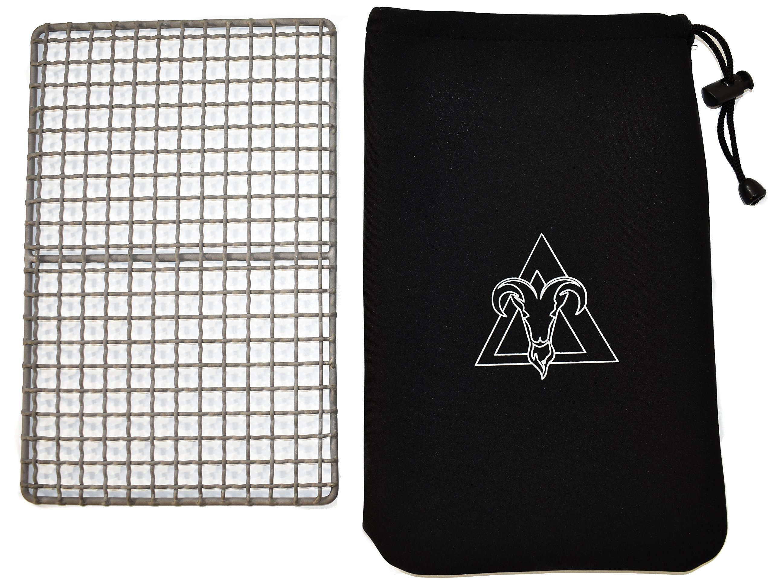 Arcadia Gear TITANIUM | The Woodsman Grill | Pure Titanium Back Country Camp Fire Cooking Grate And Neoprene Pouch Designed For When Your Life Depends On It