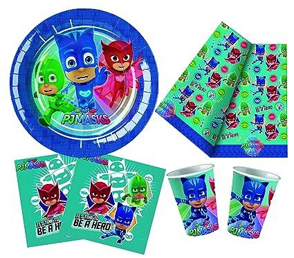 BBS Kit Party Pj Mask para 24 Personas, Cartón, Verde Agua, 20x19x12.