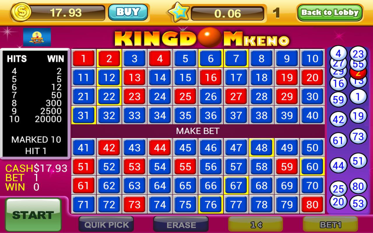 Amazon.com: Video Keno Kingdom Game FREE - Casino Keno ... | 1280 x 800 png 863kB