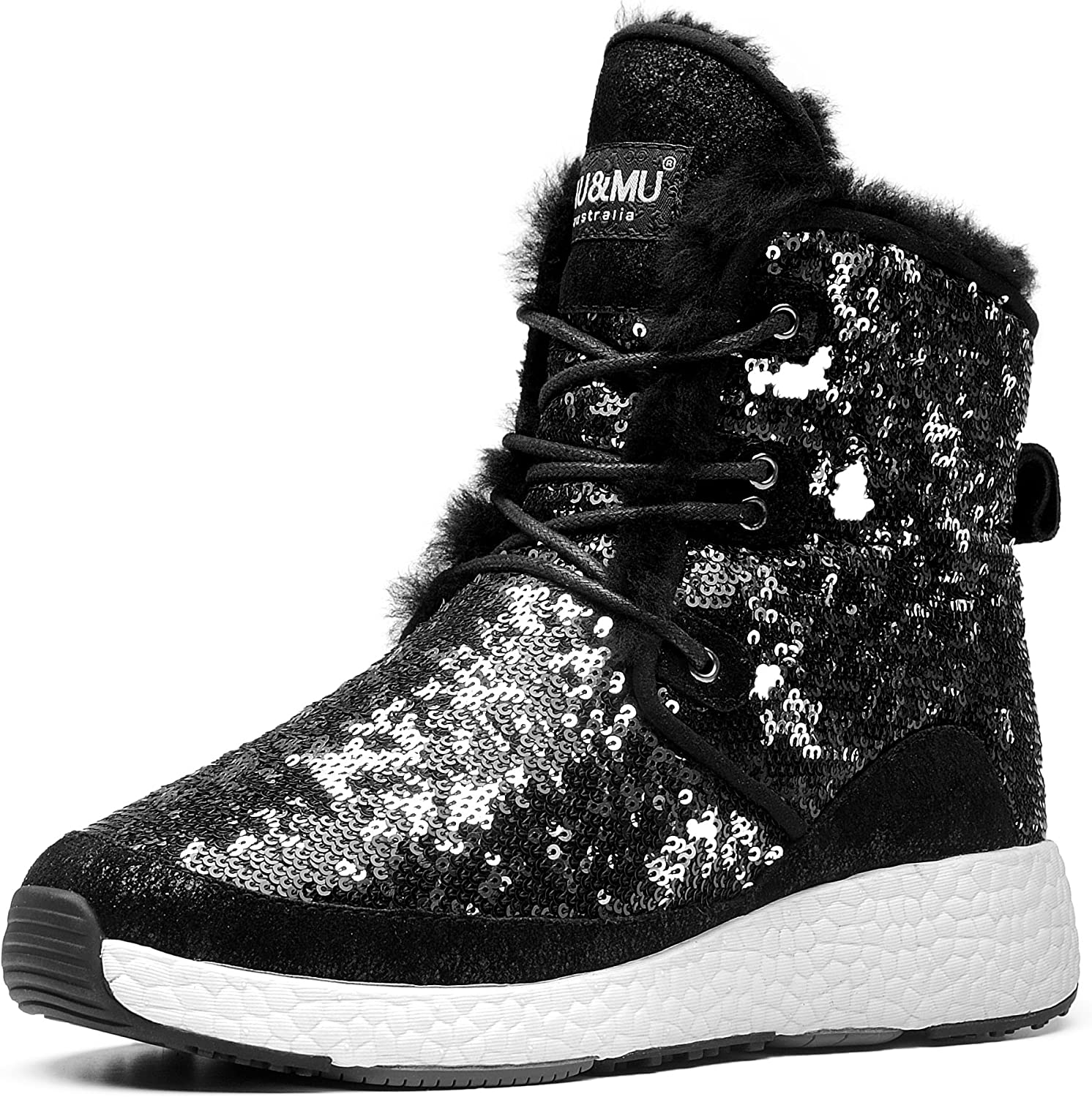 Aumu Sheepskin Taurus Metal Buckle Brass Eyelets Suede Upper Laces Winter Snow Boots