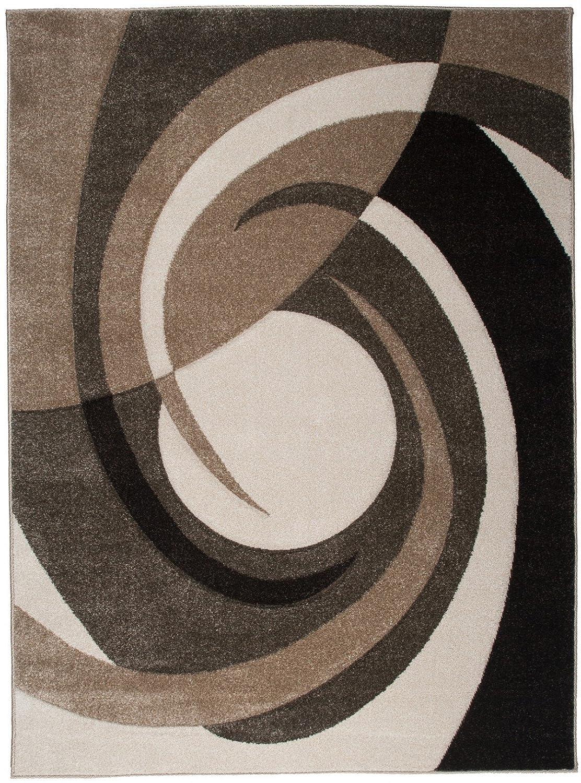 Tapiso Sumatra Teppich Kurzflor 3D Effekt Braun Beige Mehrfarbig Modern Abstrakt Wirbel Muster Wohnzimmer Jugendzimmer ÖKOTEX 190 x 270 cm