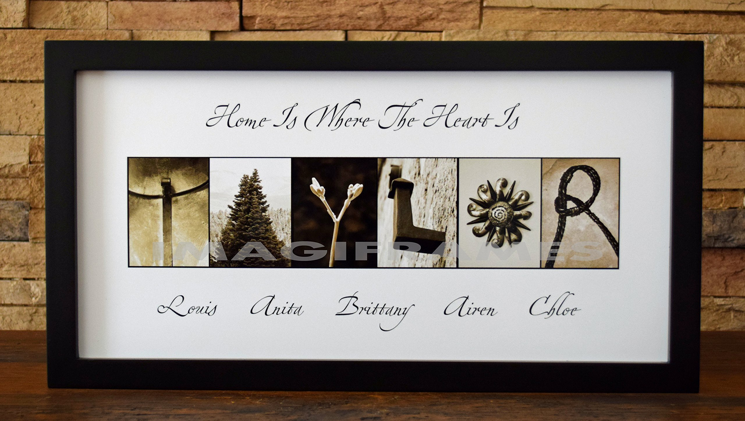 Home Is Where The Heart Is - Framed Photo Letter Art - Personalized Alphabet Photography - Custom Name Sign