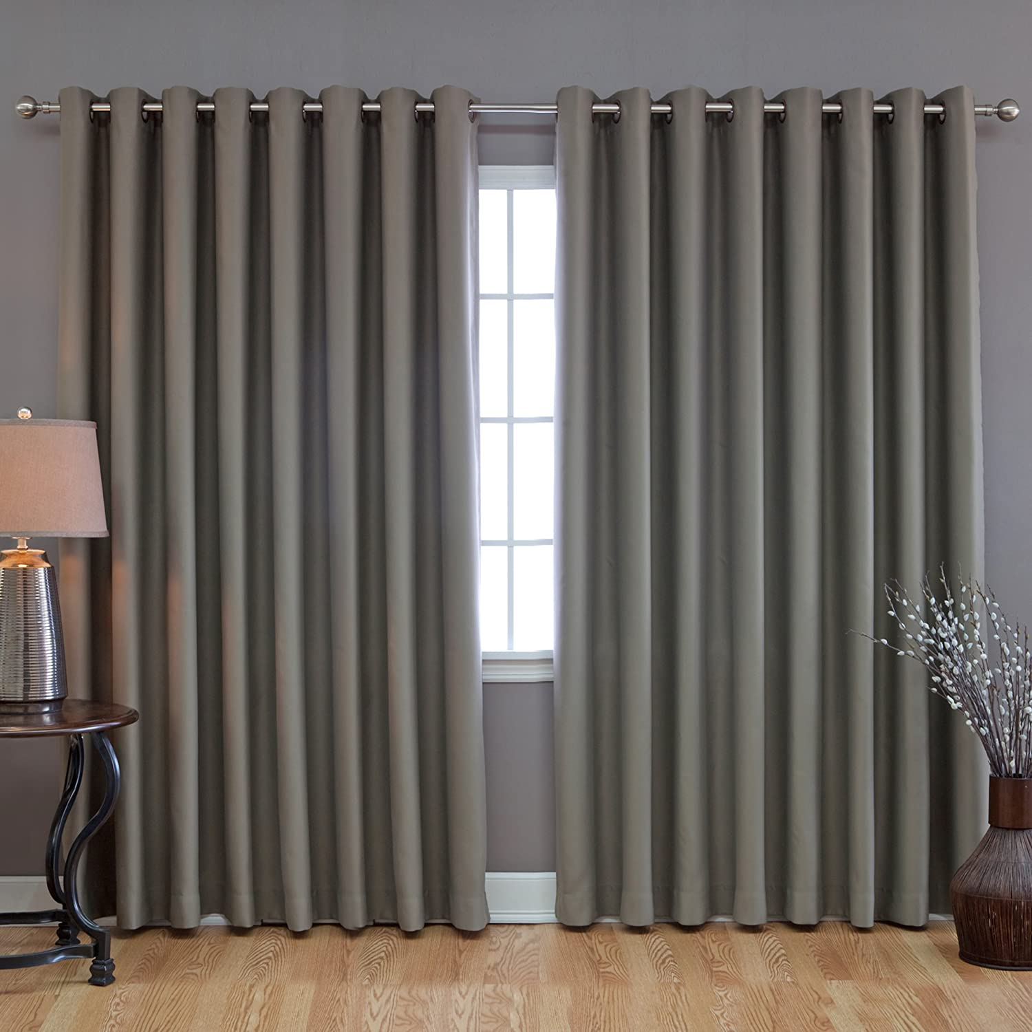 Best Home Fashion Wide Width Thermal Insulated Blackout Curtain   Antique  Bronze Grommet Top   Olive