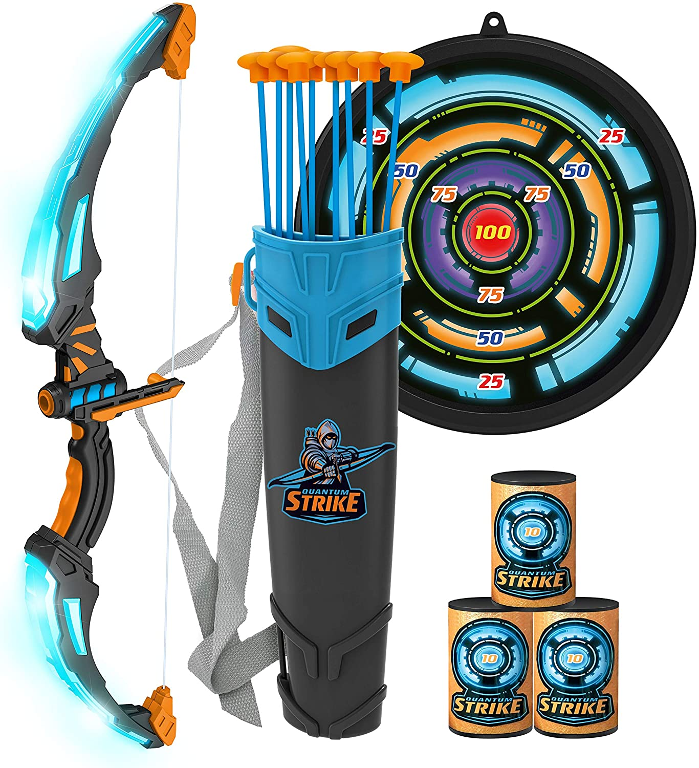 JOYIN Bow and Arrow Archery Toy Set for Kids, Light Up Archery Play Set with Luminous Bow, 9 Suction Cups Arrows, Targets, and Quiver