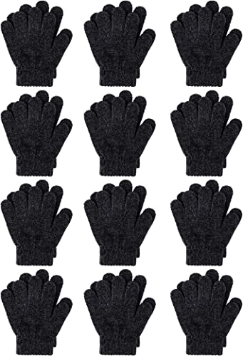 Boys Cooraby 3 Pairs Warm Chenille Gloves Kids Stretchy Cashmere Knitted Gloves for Girls