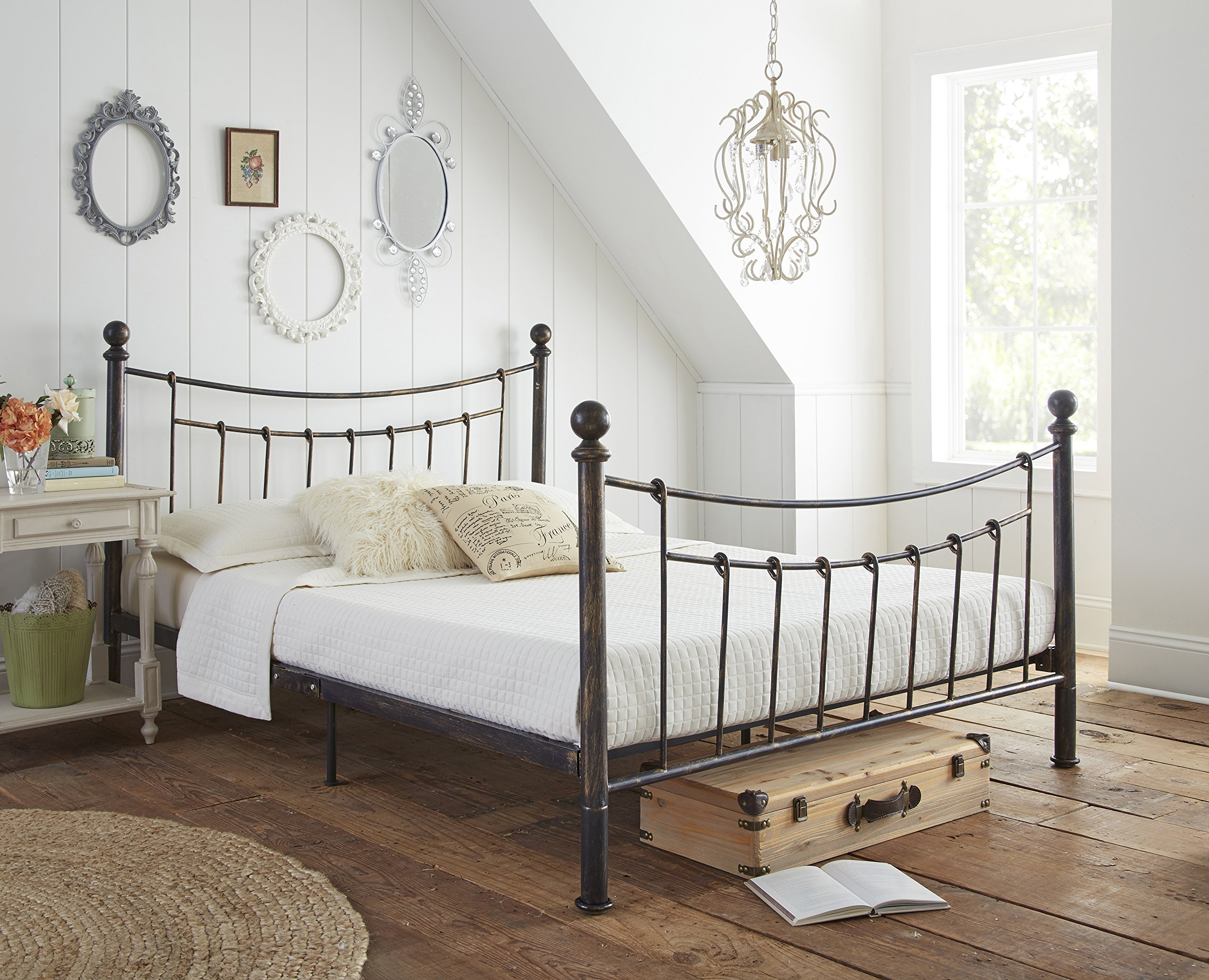 Flex Form Rowan Metal Platform Bed Frame / Mattress Foundation with Headboard and Footboard, Queen by Flex Form (Image #3)