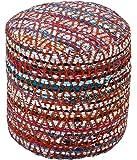 Homescapes Chindi Pouf Sitzhocker Fußhocker rund Ethno Look bunt 45 cm Durchmesser 40 cm hoch