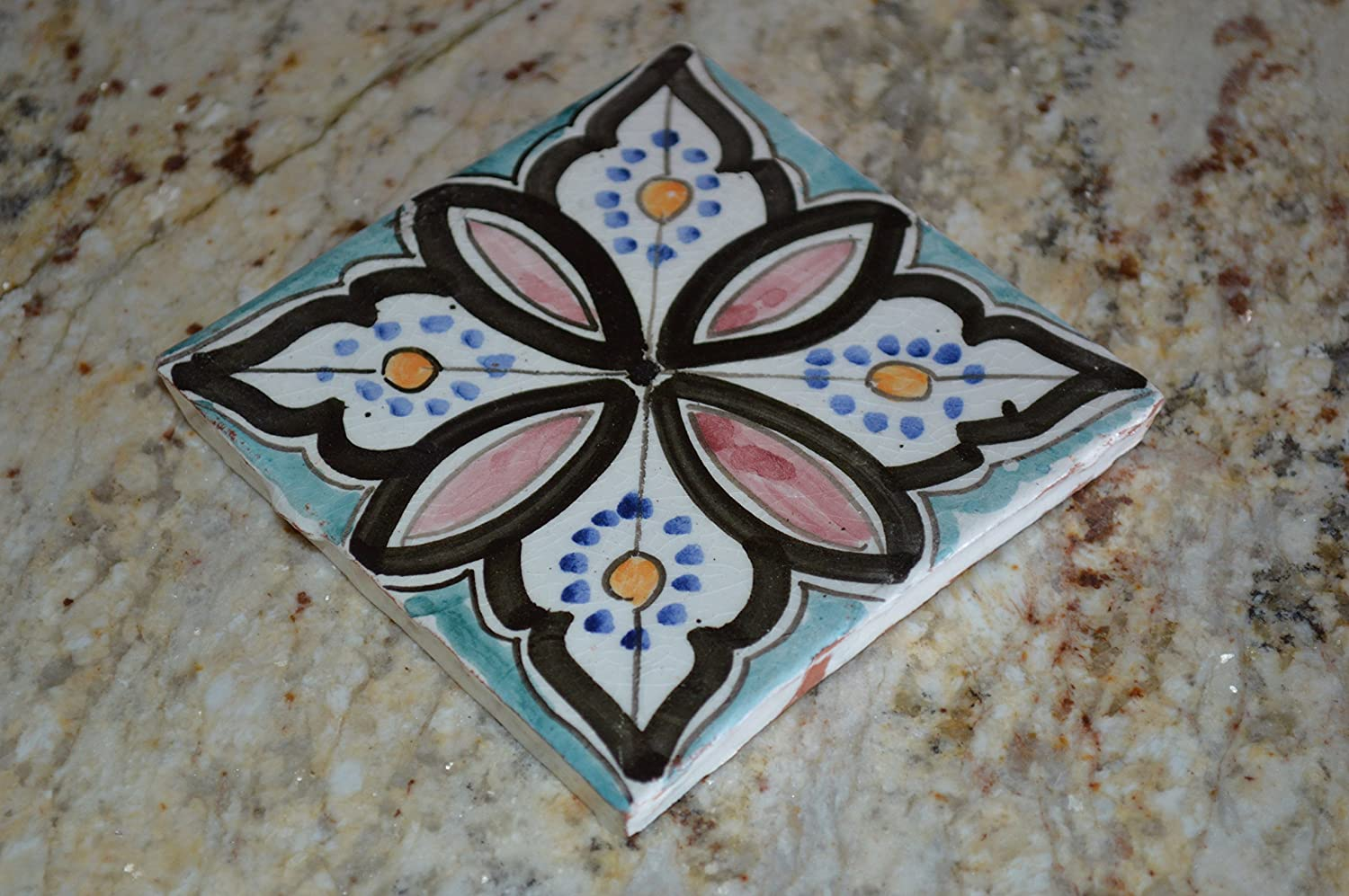 Amazon moroccan handpainted ceramic tile decorative spanish amazon moroccan handpainted ceramic tile decorative spanish moorish coaster home kitchen dailygadgetfo Choice Image