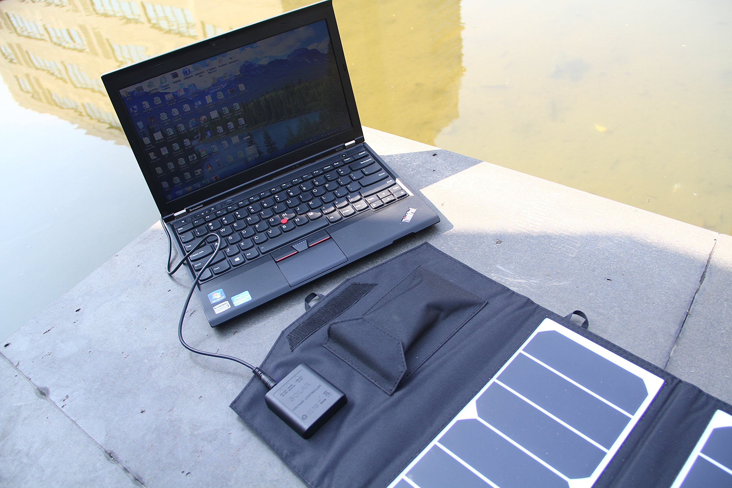 TOPDC 39W Solar Panel Charger Portable Foldable High Efficiency Solar USB Charger (5V USB + 18V DC) for Phone Laptop Samsung iPad GPS Gopro Dell HP Notebook Headset and More by TOPDC (Image #5)