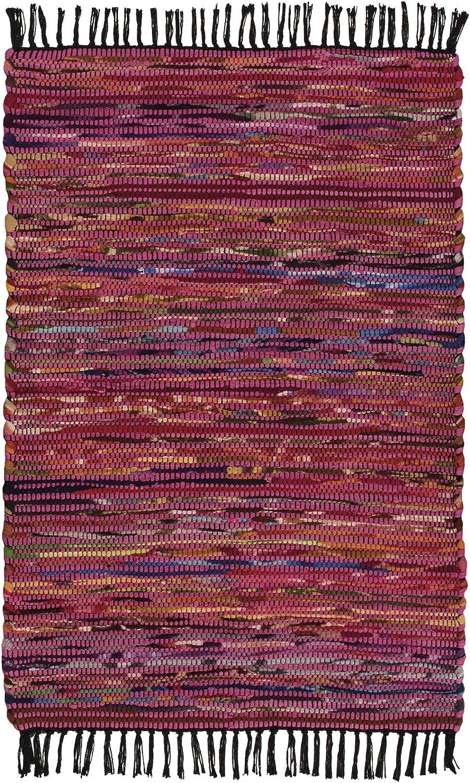Indian Arts Tapis indien en coton et polaire recycl/és fait main issu du commerce /équitable Noir 60/x 90/cm