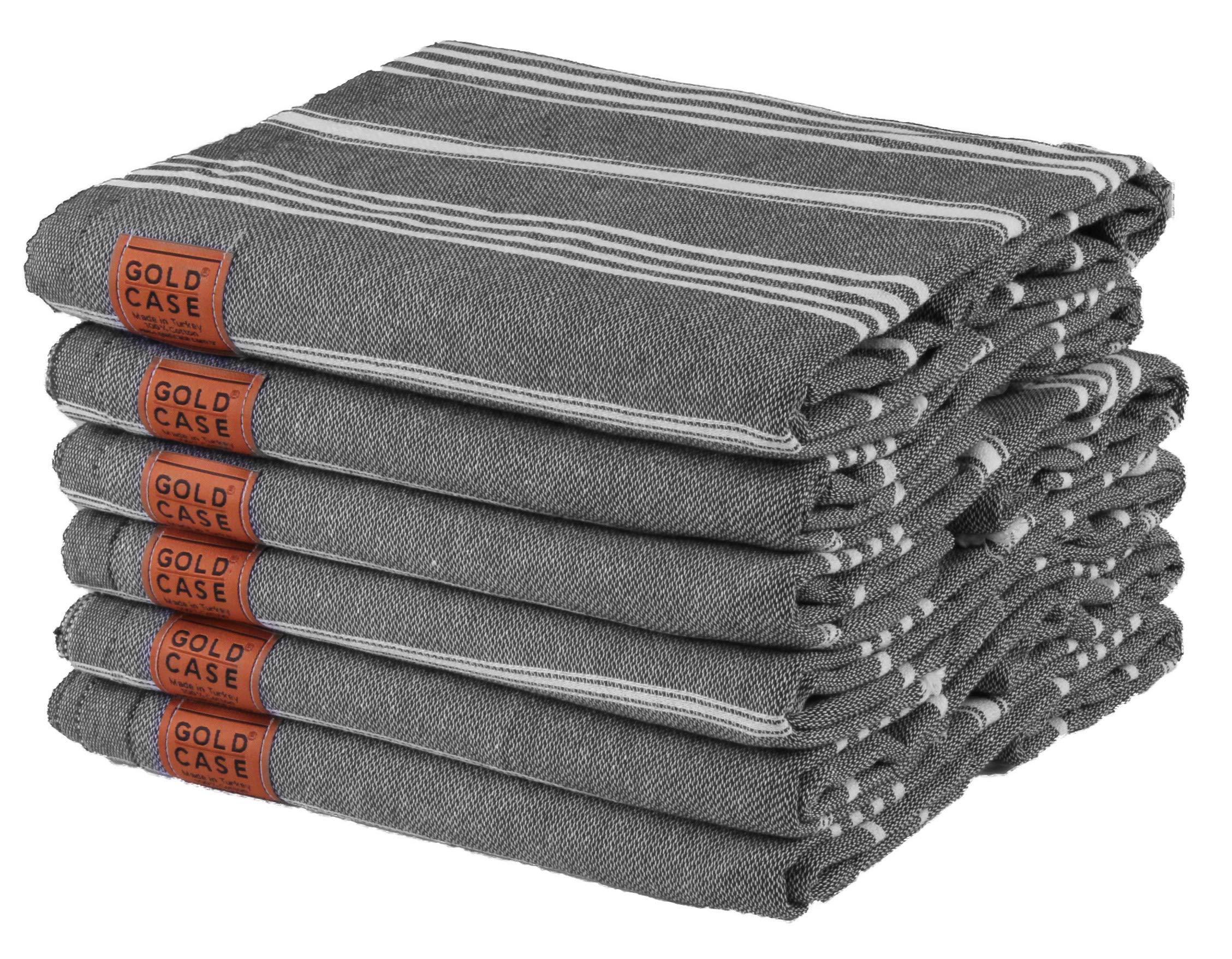 Gold Case Set of 6 XXL Pestemal Towel Turkish Cotton Bath Beach Hammam Towel Peshtemal Throw Blanket (Black) by Gold Case (Image #1)