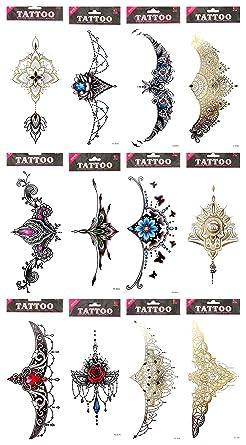 Amazon Com 10 Sheets Sternum Temporary Tattoo Underboob Sideboob