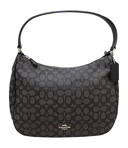 5254e5c02e0a Coach Zip Shoulder Bag in Signature fabric Jacquard (Smoke Black) (Fabric