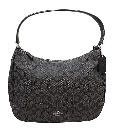Coach Zip Shoulder Bag in Signature fabric Jacquard (Smoke Black) (Fabric 929866f55e32
