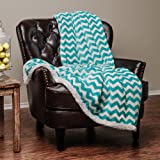 "Chanasya Super Soft Ultra Plush Cozy Fluffy Warm Chevron Print Modern Contemperary Design Velvet Fleece Front and Fuzzy Sherpa Back Microfiber Throw Blanket (60"" x 70"") - Teal and White"