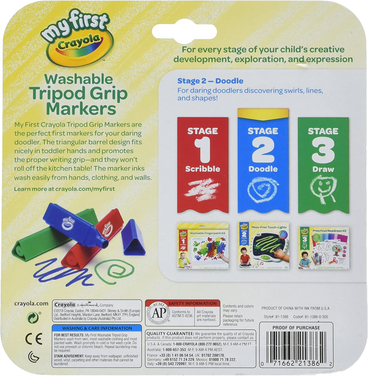FREE /& FAST DELIVERY. Crayola 8 My First Crayola Washable Markers