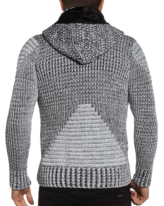 BLZ jeans - Vest black and white man zipped chunky knit