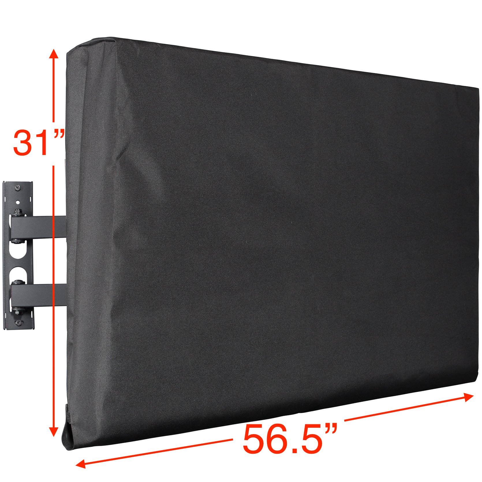 Kuzy Outdoor TV Cover 55 inch, Outdoor TV Covers Weatherproof for 55 inch Flat Screen TV - Fits Most Wall TV Mount, Hand Made in USA - Black