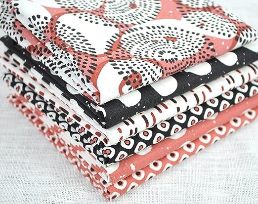 Juego de 6 retales telas 100% algodón 50 x 50 cm