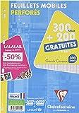 ClaireFontaine - Réf 11791C - Un Étui Carton de 300 Pages + 200 Pages Gratuites Feuillet Mobile Perforés Grand Carreaux A4 90 g vendu à l'Unité