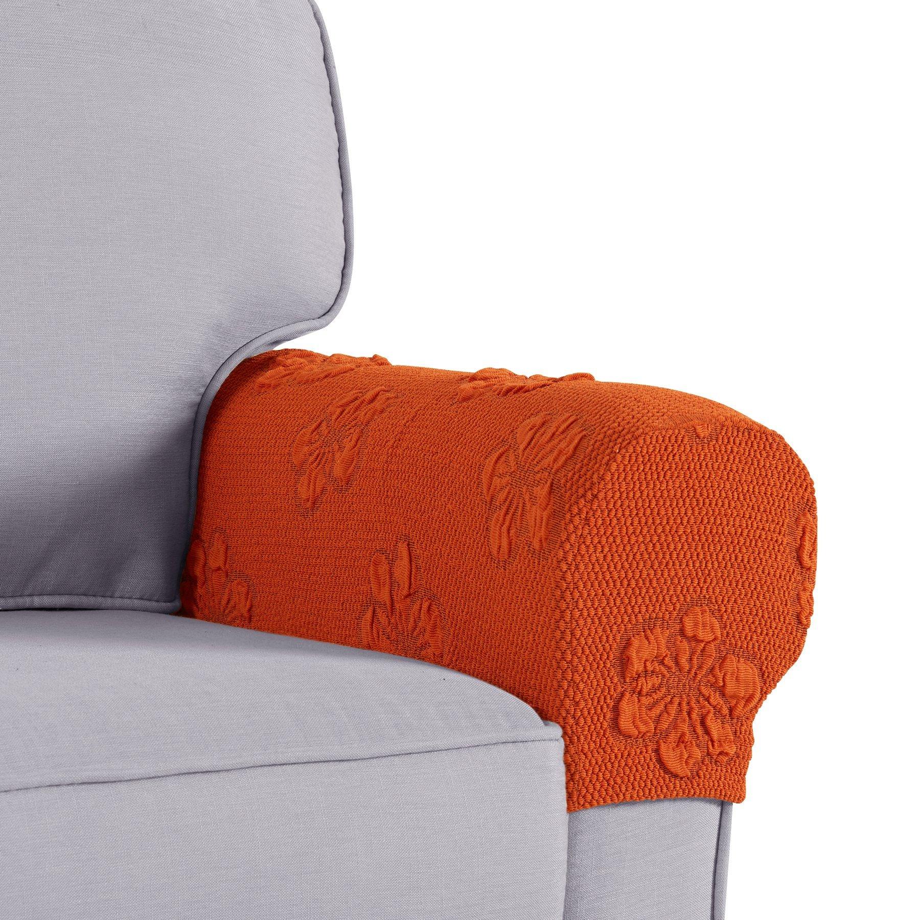 Joywell Spandex Stretch Armrest Covers Set of 2 (Orange)