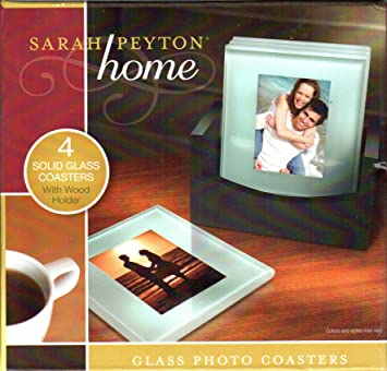 Amazoncom Sarah Payton Home Solid Glass Photo Coasters With Wood