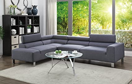 Amazon.com: 2Pcs Modern Blue Grey Fabric Sectional Sofa Set with ...