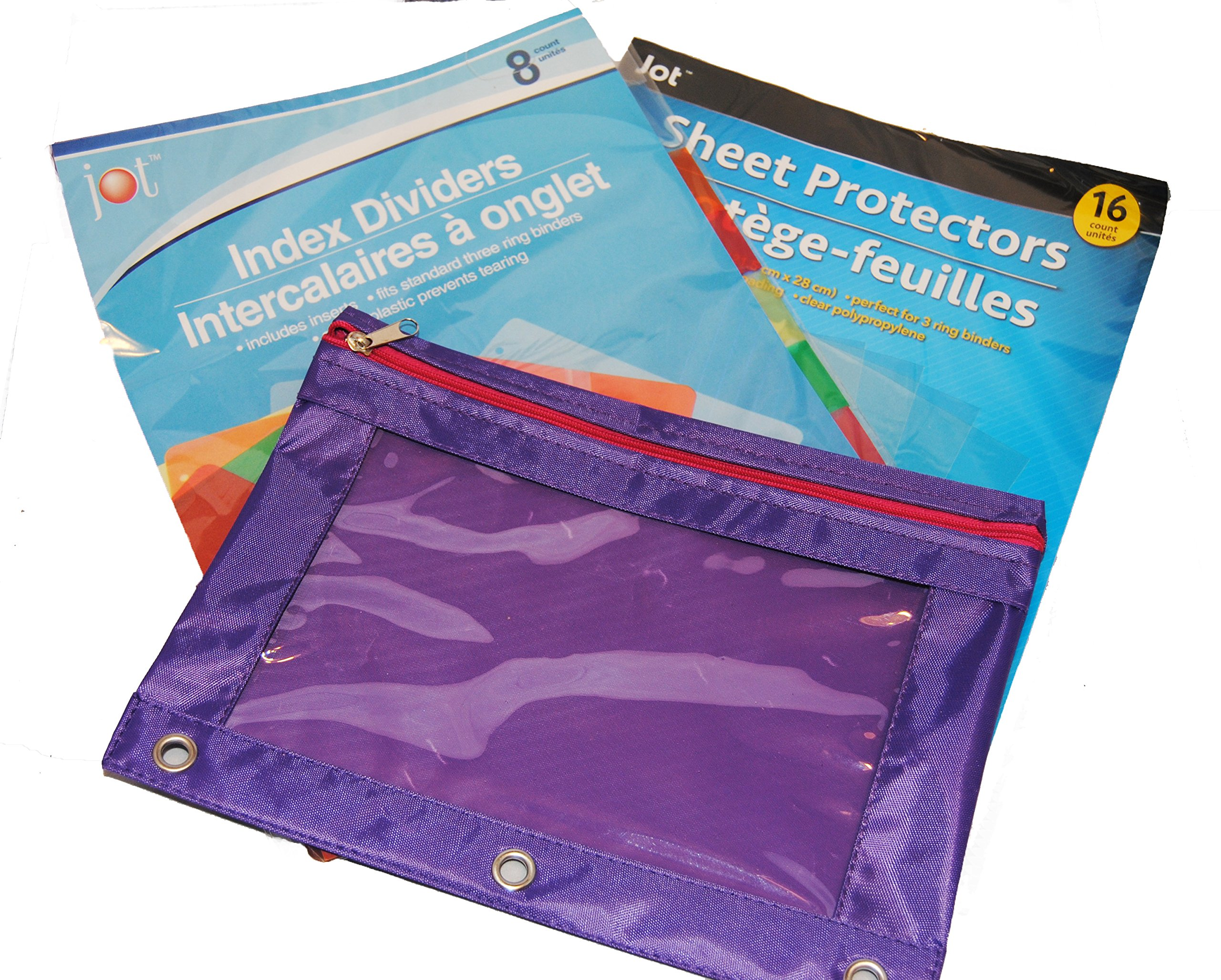 Binder Accessories Kit:1 Pencil pouch, 8 Dividers, and 16 Sheet Protectors (pink/purple)