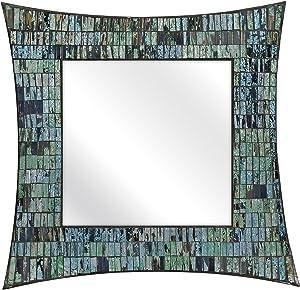 IMAX 96108 Aramis Mosaic Glass Wall Mirror - Hanging Wall Mirror for Bathroom, Living Room, Dining Room, Wall Mounted Mirror. Home Decor