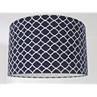 Handmade Navy Blue and White Quatrefoil Moroccan Tile Geometric Lampshade Lightshade