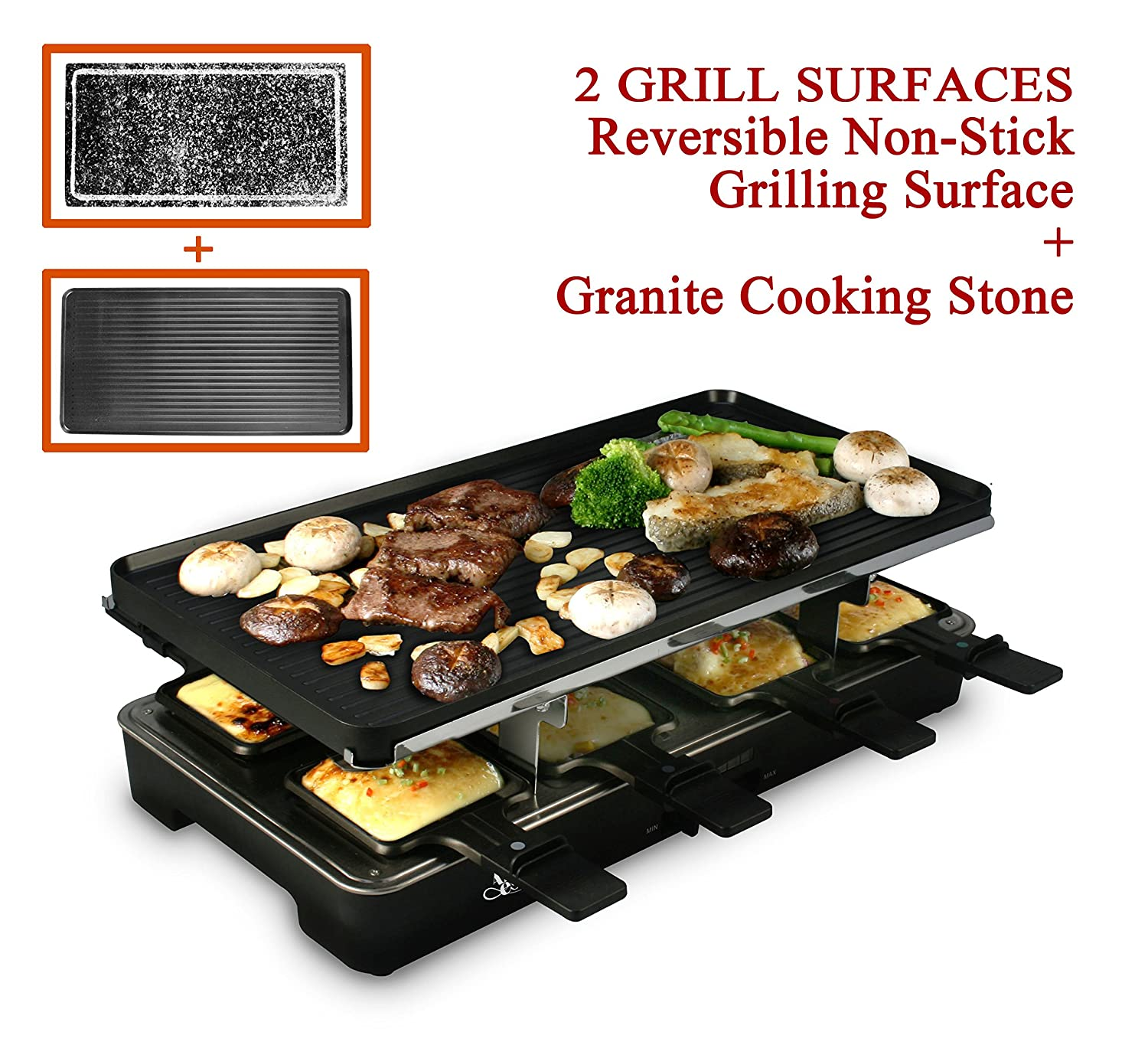 (Cast Aluminum Reversible Grill Plate and High Density Granite Grill Stone), Serve 8 Persons Compact GRILL REVIEW