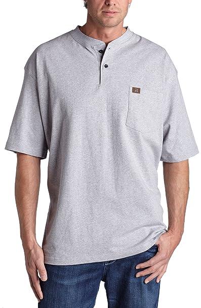 0e7e9409bb99 Men's Riggs Workwear by Wrangler Short-sleeved Henley T-shirt ASH HEATHER  2XLT