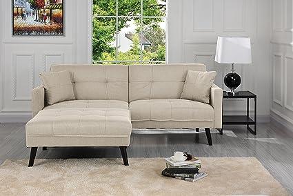 Sofamania Mid Century Modern Linen Fabric Futon Sofa Bed, Living Room  Sleeper Couch (