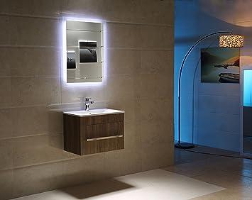Badspiegel LED Spiegel GS084 mit Beleuchtung durch satinierte ...