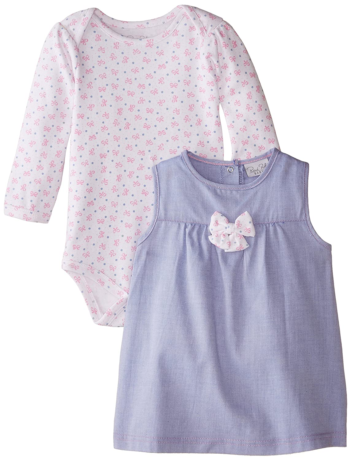 Rene Rofe Baby Baby Girls Infant Ribbons Bows Chambray Jumper and Bodysuit Set