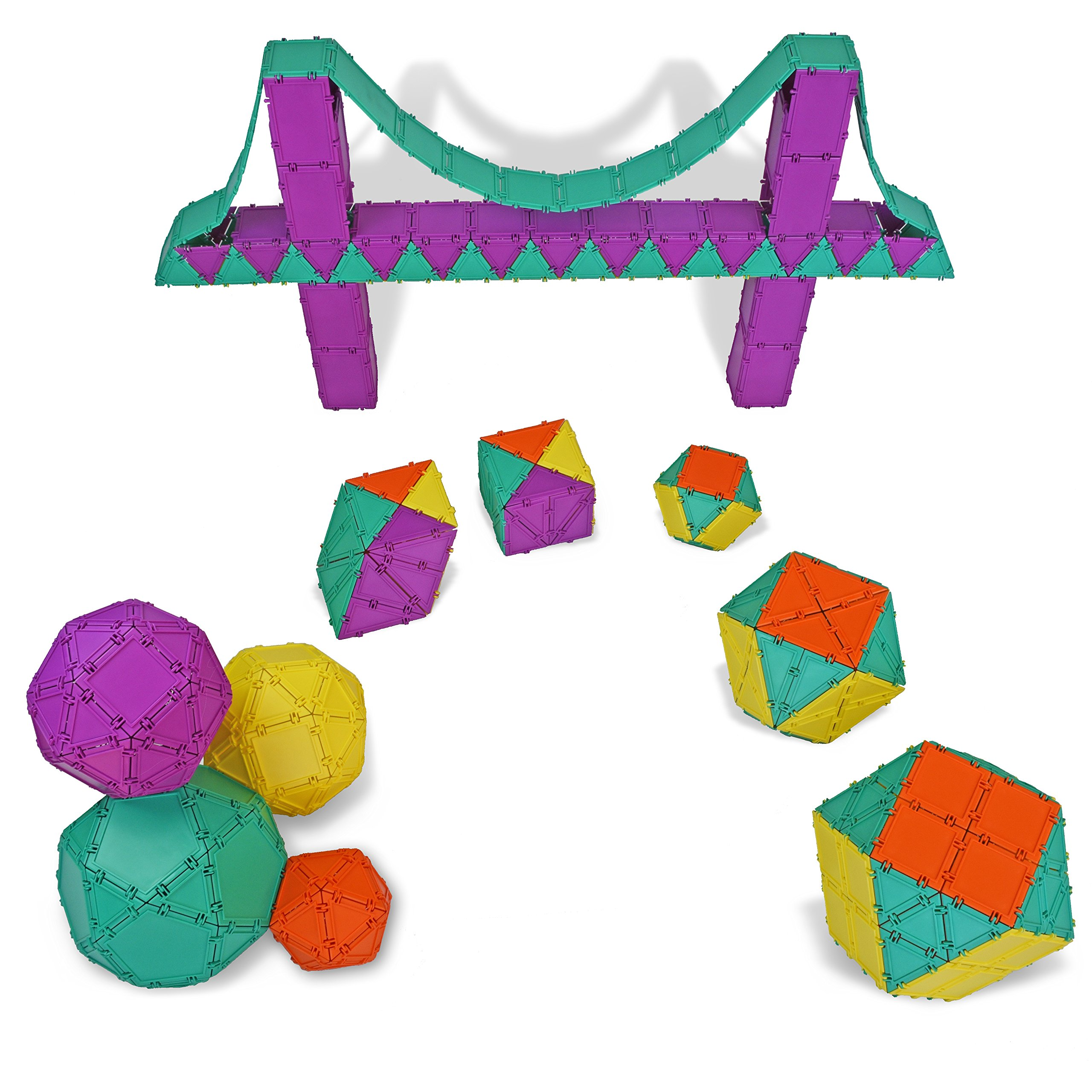 Geometiles 3D Building Set for Learning Math, Includes Many Online Activities, Jumbo Size, 512-pc, Made in USA