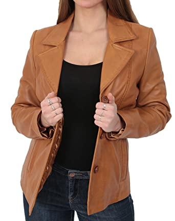 Womens Leather Blazer Coat Fitted Classic Hip Length Jacket Ruth Tan (X-Small)