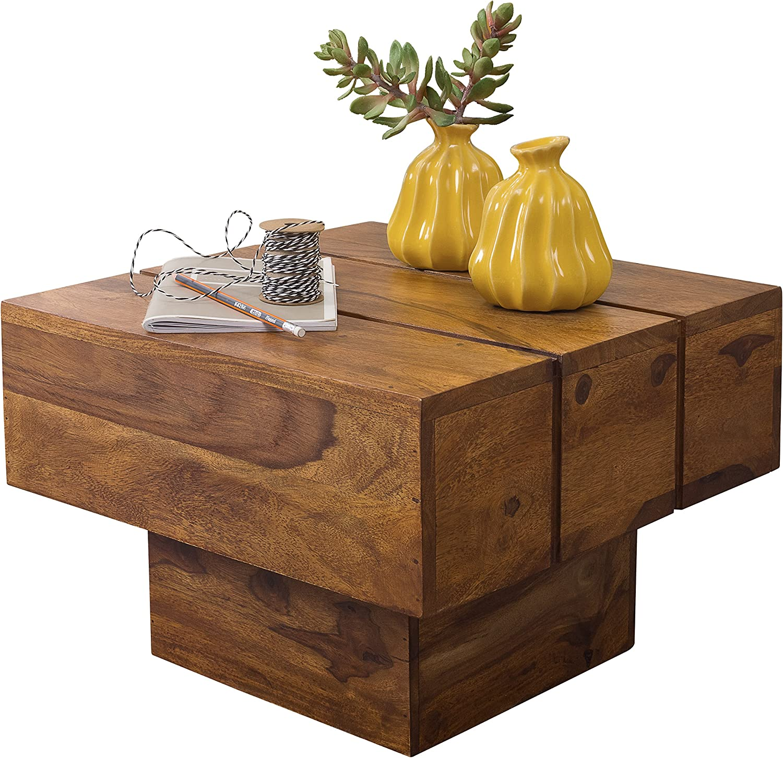 Acacia WOHNLING Beistelltisch Massivholz Akazie Wohnzimmertisch 44 x 44 x 30 cm Couchtisch Massiv Landhaus Cube quadratisch Table Basse Bois