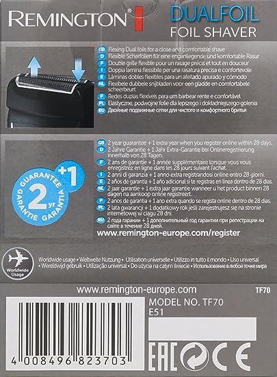Remington Afeitadora Láminas Dual Foil TF70, Negro: Amazon.es: Salud y cuidado personal