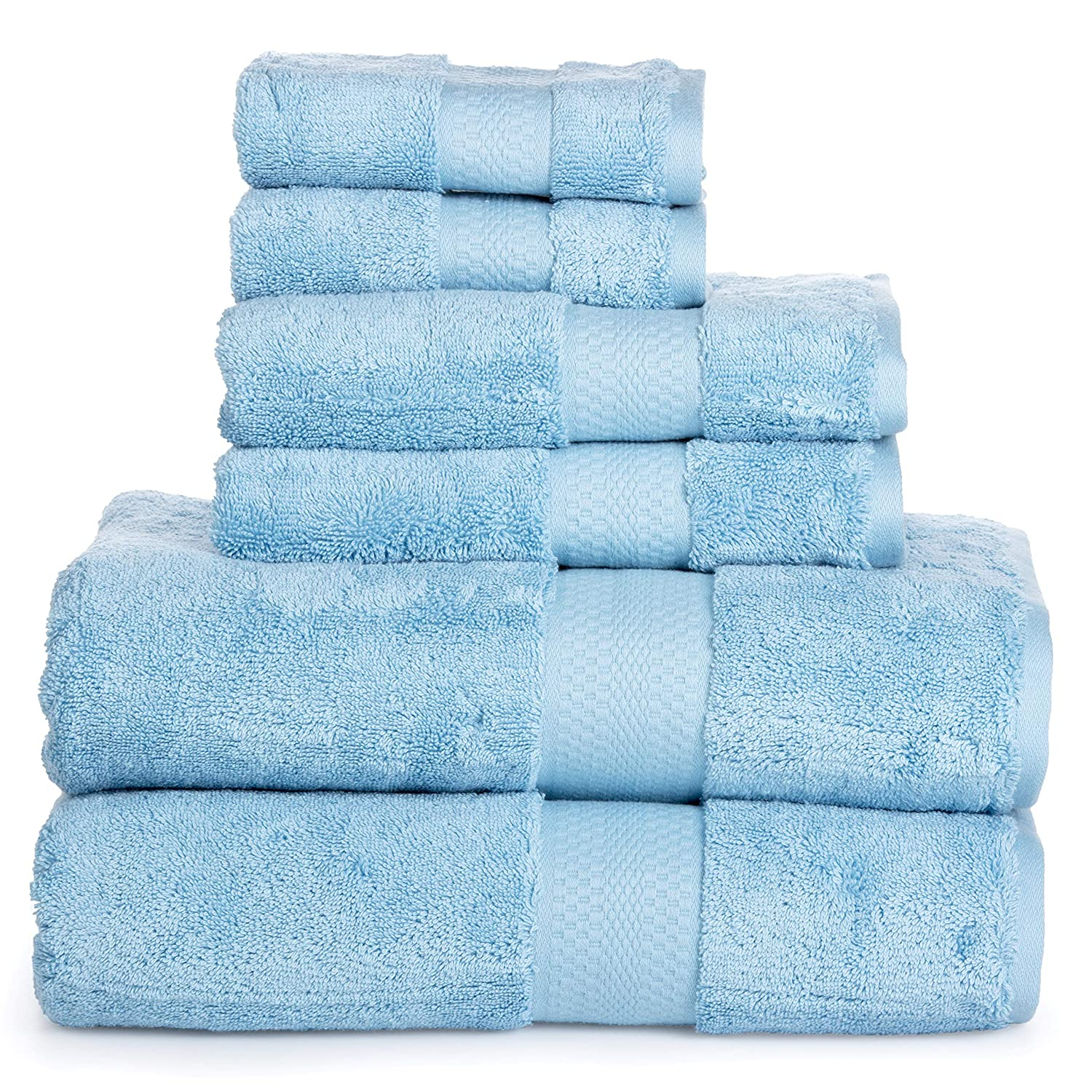 Luxury Cotton Bathroom Bath Towels: 6 Piece Towel Set for Household Bathrooms - Soft Plush and Absorbent Cotton with Double Stitch Hems - Bath / Shower Towels, Hand Towels, and Washcloths - BLACK ISABELLA CROMWELL