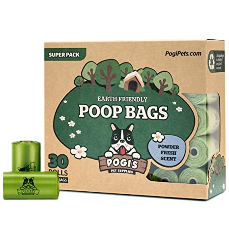 Pogis Poop Bags - Bolsas para excremento de perro - 30 Rollos (450 Bolsas) - Grandes, Biodegradables, Perfumadas, Herméticas