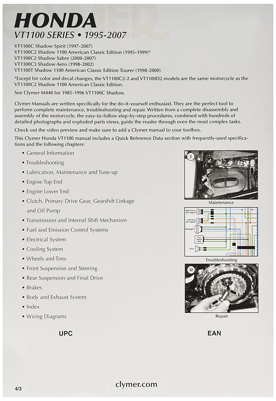 Amazon.com: Clymer Repair Manual for Honda VT1100 VT-1100 Series 95-07:  Automotive