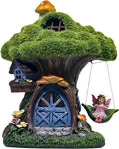 TERESA'S COLLECTIONS 7.7 Inch Flocked Tree Fairy Garden House Statue with Mushroom, Solar Powered Garden Lights Fairy Garden Figurines Cottage for Outdoor Patio Yard Decorations (Resin)