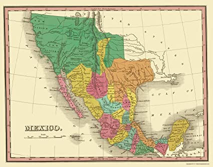 Amazon.com: Old Mexico Map   Mexico with Territories   Finley 1831