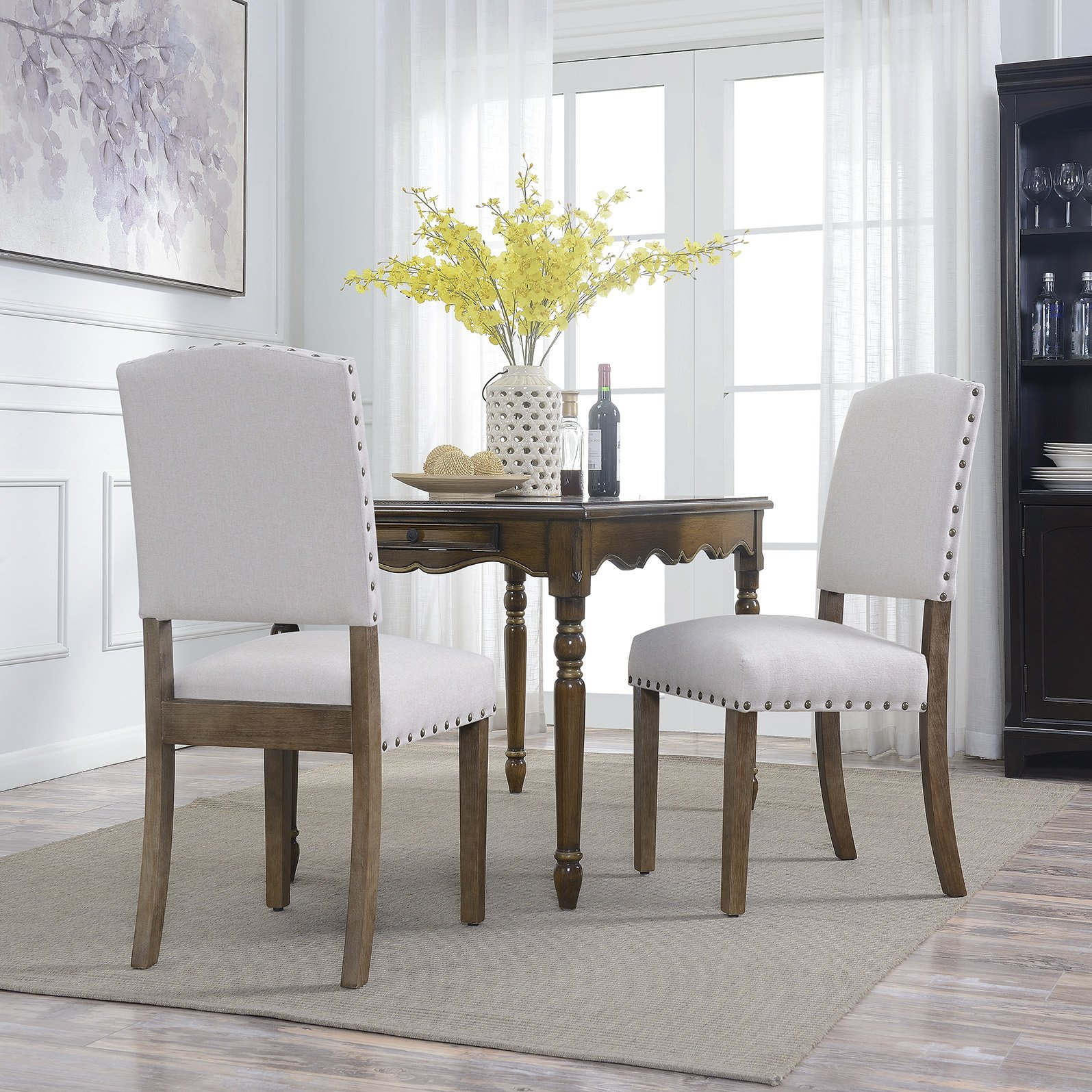 Belleze Contemporary Classic Dining Chair Set of (2) Linen Padded Upholstered Cushion High Back Solid Wood Legs, Beige